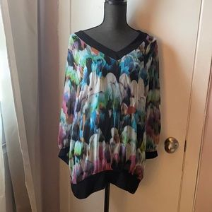 Yvonne Marie sheer multicoloured top size XL